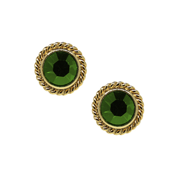 14K Gold Dipped Small Round Stud Earrings Green