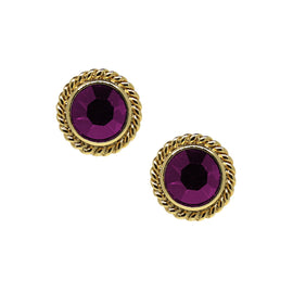 14K Gold Dipped Purple Small Round Stud Earrings
