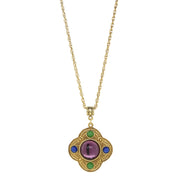 14K Gold Dipped Multi Color Pendant Necklace 16 - 19 Inch Adjustable