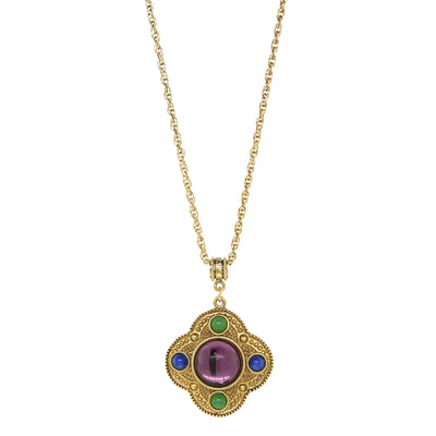 14K Gold Dipped Multi Color Pendant Necklace 16   19 Inch Adjustable