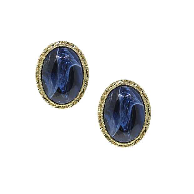 14K Gold Dipped Blue Oval Stud Earrings