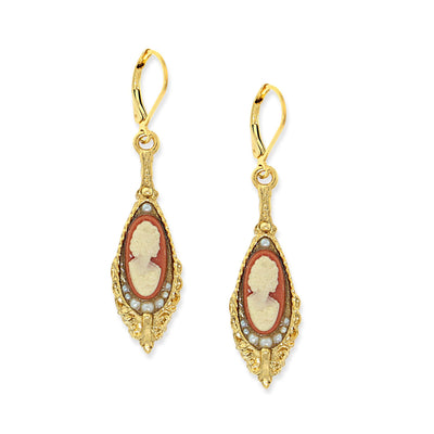 1928 Jewelry 14K Gold Dipped Carnelian Cameo Drop Earrings