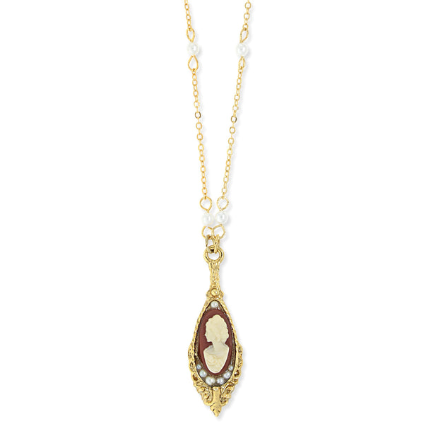 1928 Jewelry 14K Gold Dipped Carnelian Cameo Drop Necklace 18 In.
