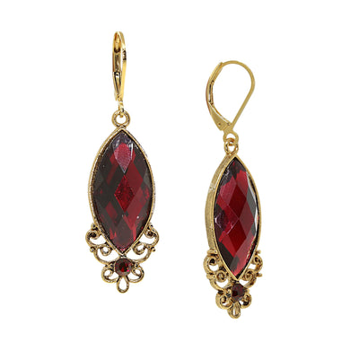 14K Gold Dipped Red Filigree Drop Earring