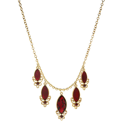 14K Gold Dipped Red 5 Drop Necklace 16 - 19 Inch Adjustable