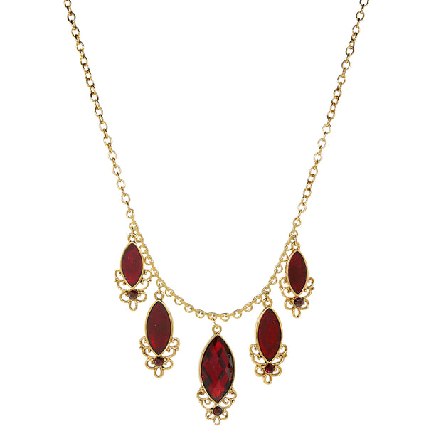 14K Gold Dipped Red 5 Drop Necklace 16 In Adj