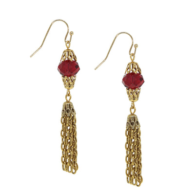 14K Gold Dipped Red Bead Tassel Drop Earring