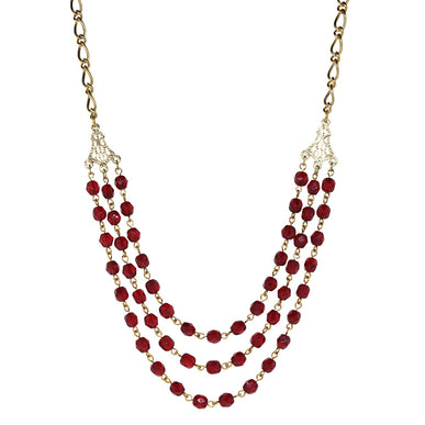 14K Gold Dipped Triple Row Red Beaded Necklace 16 In Adj