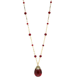 14K Gold Dipped  Large Red Briolette Pendant Necklace 34 In