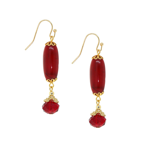 14K Gold Dipped Red Bead Linear Drop Earring