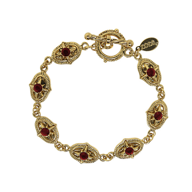 14K Gold Dipped Red Toggle Bracelet