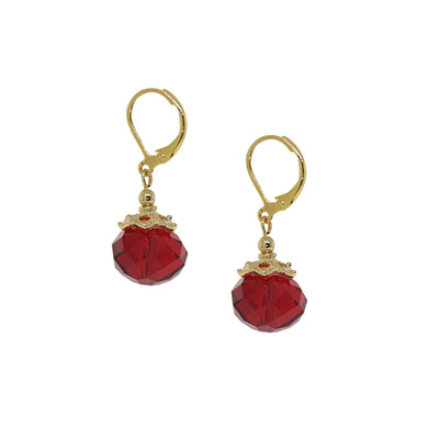 14K Gold Dipped Red Bead Drop Earring