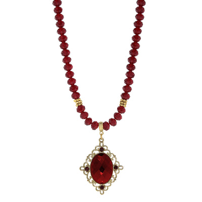 14K Gold Dipped Red Filigree Drop Necklace 15 In Adj