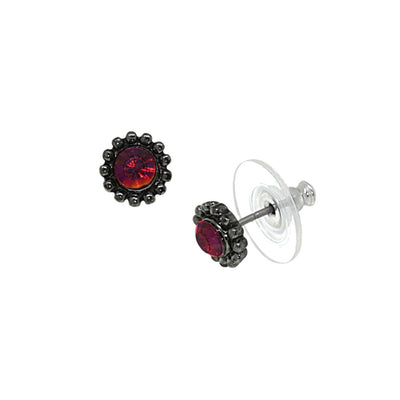Black Tone Red Aurora Borealis Stud Earrings