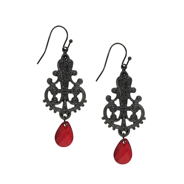 Black Tone Filigree Earring With Red Briolette Drop
