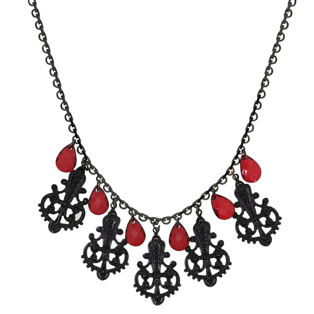 Black Tone Multi Filigree And Red Briolette Drop Necklace 16 - 19 Inch Adjustable