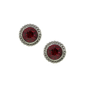 Black Tone Red Small Round Stud Earrings