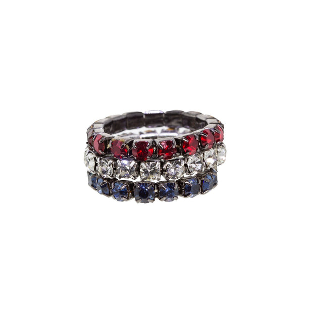 Silver Tone Blue Red Three Stretch  Ring Set