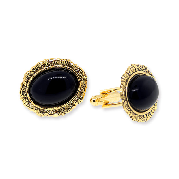 1928 Jewelry 14K Gold Dipped Black Oval Cufflinks