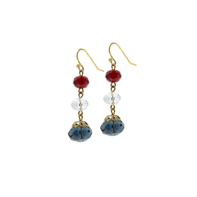 Gold Tone Red Clear Blue 3 Bead Drop Earrings