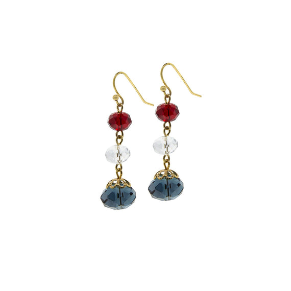 Gold Tone Red Clear Blue 3 Bead Drop Earring