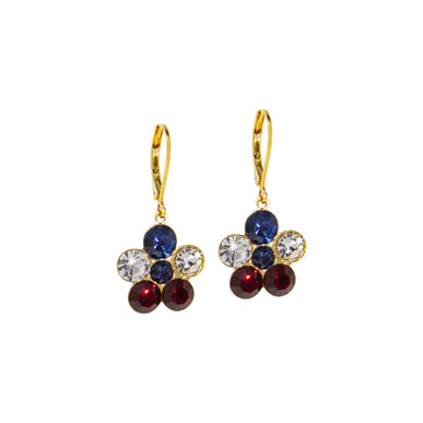Gold Tone Red Clear Blue Flower Drop Earring