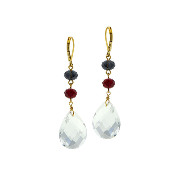 Gold Tone Blue Red bead Clear Briolette Linear Drop Earring