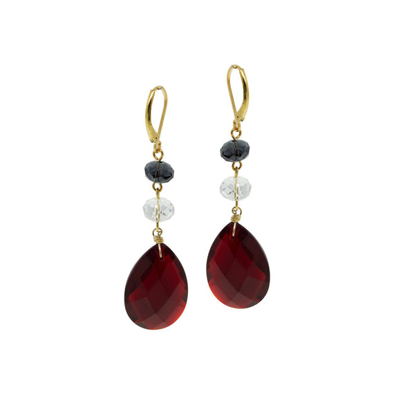 Gold Tone Blue Clear bead Red Briolette Linear Drop Earring