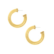 Gold Tone Detailed Designed Round Hoop Earrings
