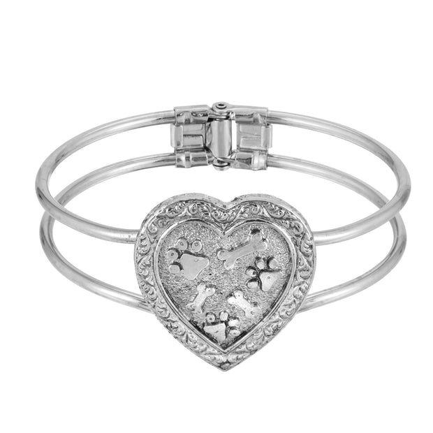 Pewter Heart Paws And Bones Cuff Bracelet