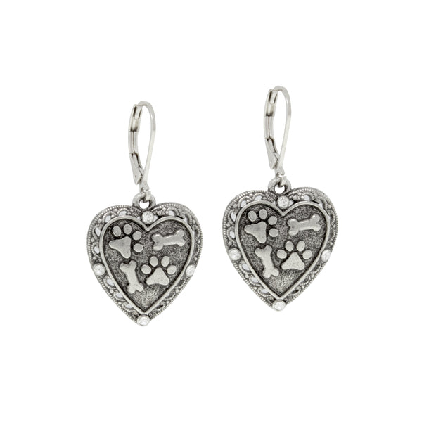 Silver Tone Heart Paws And Bones Drop Earrings