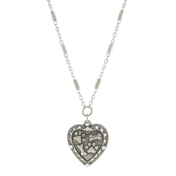Silver Tone Heart Paws And Bones Necklace 16 - 19 Inch Adjustable