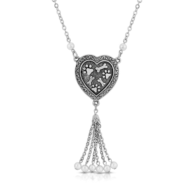 Pewter Costume Pearl Paw and Bones Heart Tassel Drop Necklace 20 Inches