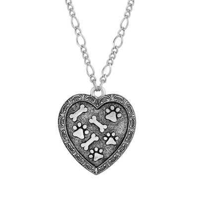 Pewter Heart Paw and Bones Necklace 28 inch