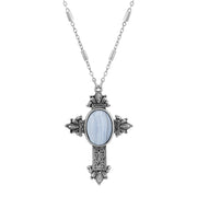 Pewter Cross Oval Gemstone Necklace 28 Inches