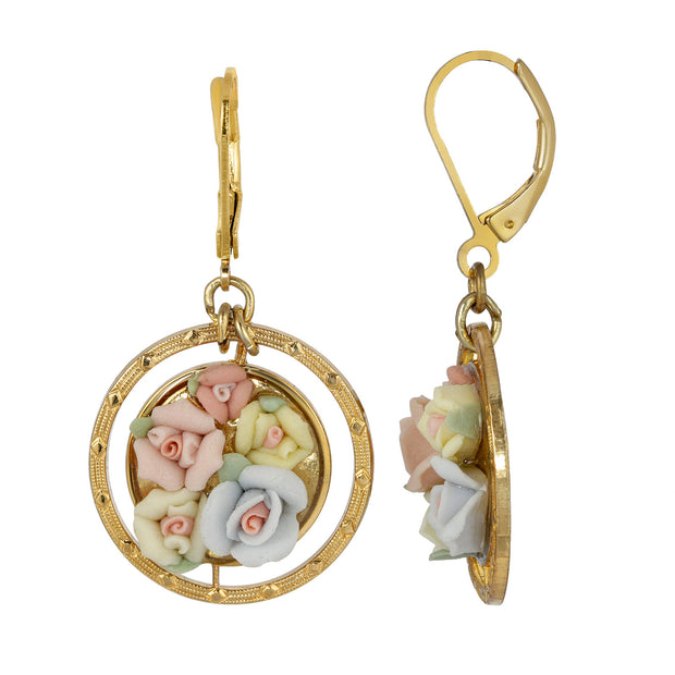 Multicolor Porcelain Flower Round Drop Earrings