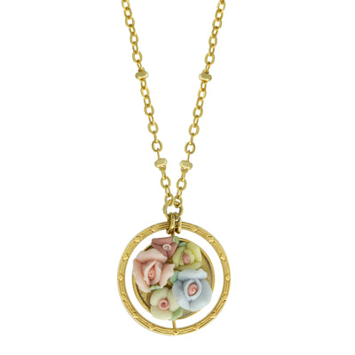 Multicolor Porcelain Flower Round Drop Necklace