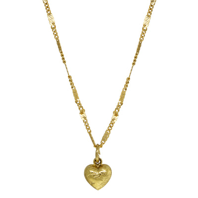 14K Gold Dipped Small Puffed Heart Necklace 15 Inch
