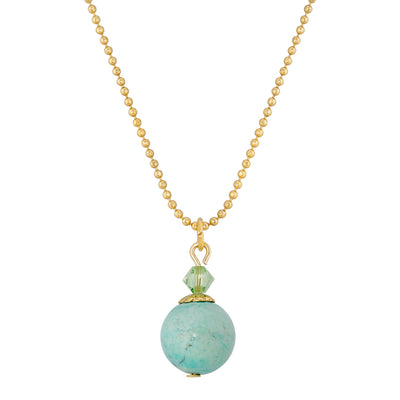 14K Gold Dipped Semi Precious Turquoise Round Beaded Drop Necklace 18 Inches