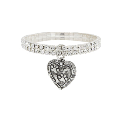 Silver Tone Two Row Crystal Stretch Bracelet With Paws And Bones Heart Charm