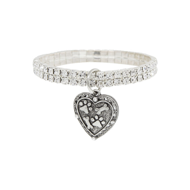 Silver-Tone Two Row Crystal Stretch Bracelet with Paws and Bones Heart Charm