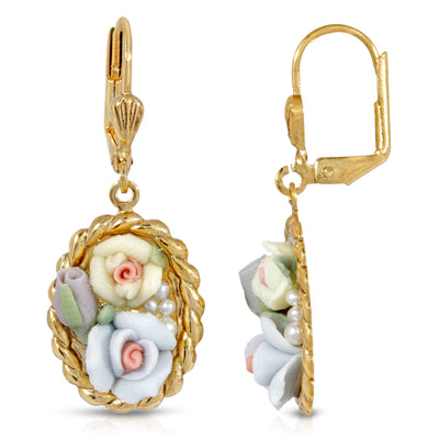 1928 Jewelry Multicolor Porcelain Flower Lever Back Drop Earrings