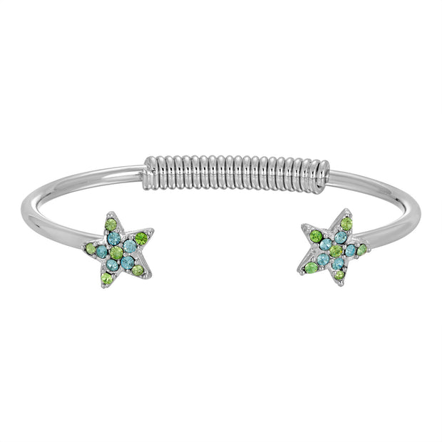 1928 Jewelry Silver Tone  Swarovski Crystal Element Star Spring Bracelet