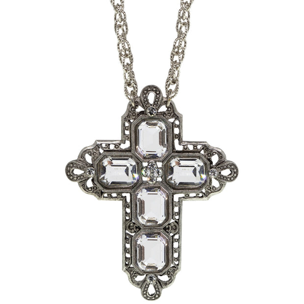 Pewter Rectangle Czech Crystal Cross Chain Necklace 30 Inch
