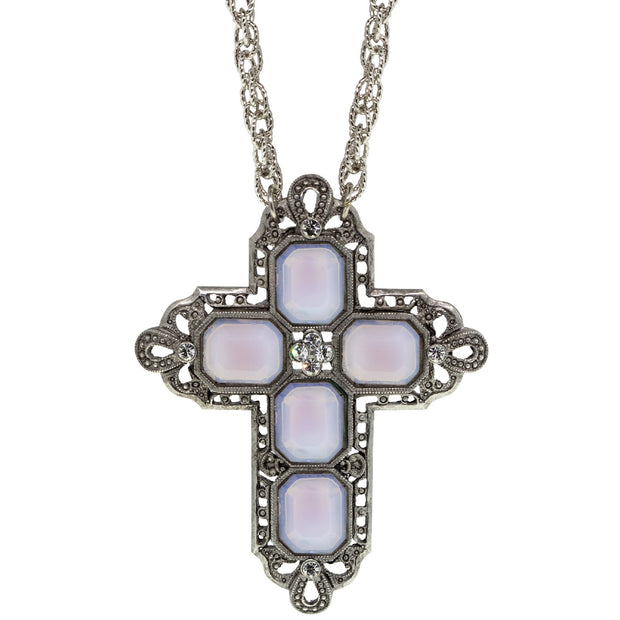 1928 Jewelry Pewter Rectangle Czech Crystal Cross Chain Necklace 30 Inch