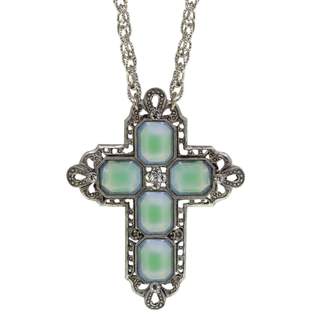 Pewter Rectangle Clear Crystal Cross Chain Necklace 30 In 2