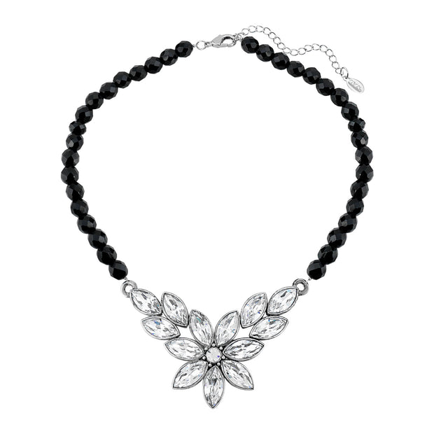 Swarovski Crystal Element Flower & Black Glass Beaded Necklace 15 - 18 Inch Adjustable