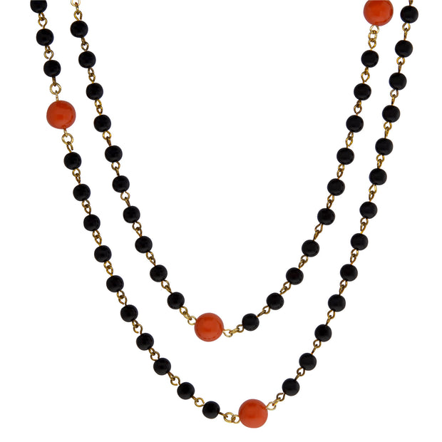 Gold Tone Orange and Black Beaded Necklace 48 In.