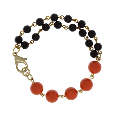 Gold Tone Double Black Single Orange Beaded Bracelet