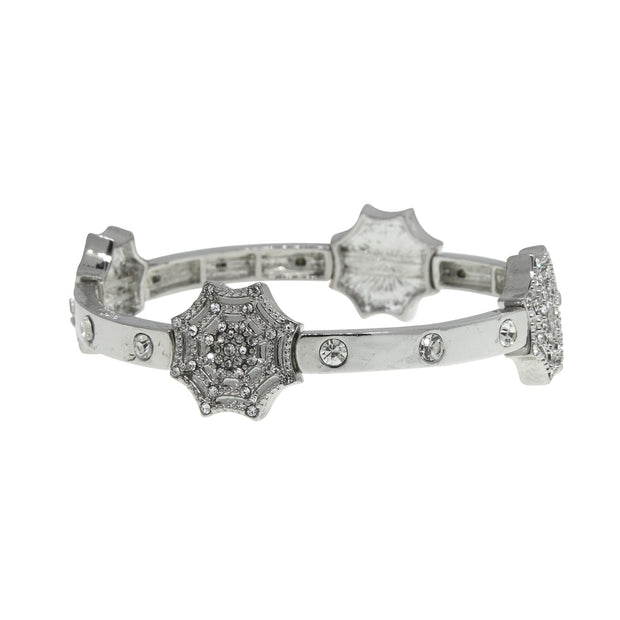 Silver Tone Crystal Spider Web Stretch Bracelet